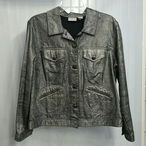 Chico's Metallic Denim Jacket Grey Large Size 12